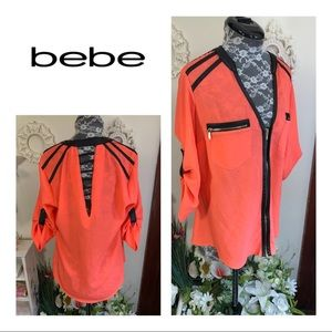 Like-New Bebe Hot Pink Front Zipper-Up Blouse